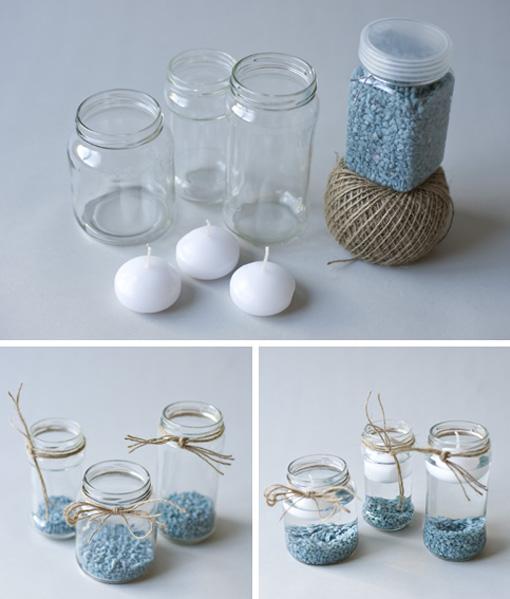 Diy velas en botes de cristal reciclados mi cesta de - Como hacer velas flotantes ...