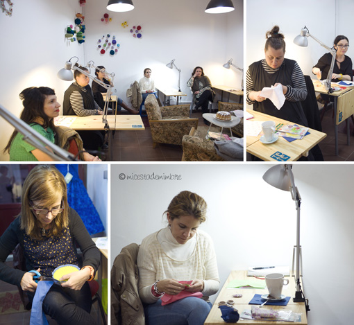 taller tete cafe costura Talleres de flores de tela.