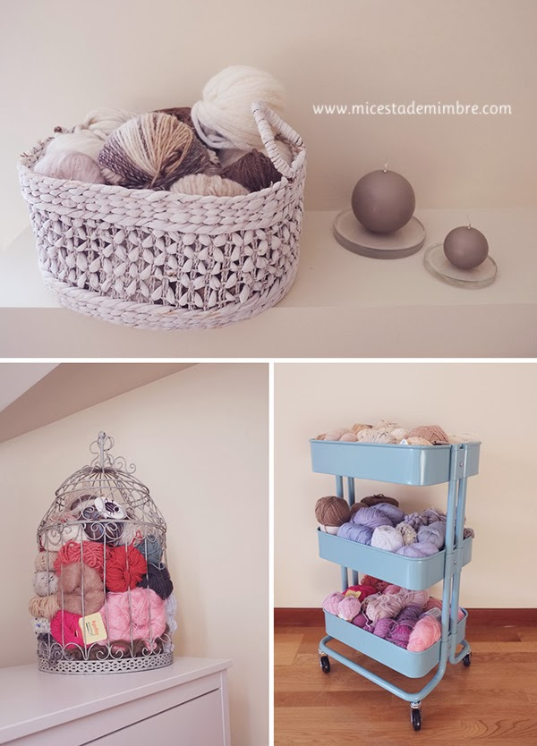 Ideas para guardar las madejas de lana mi cesta de for Cestas mimbre ikea